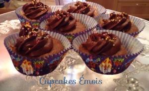 Cupcakes chocolat, ganache chocolat caramel