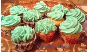 Cupcakes verts topping Philadelphia